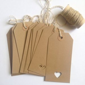 12 Kraft Luggage Tags, Vintage Style, Luggage Tags with Heart Punch, Wedding, Crafts