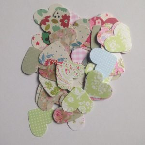 300 1 Inch Die Cut Hearts from Flowered and Vintage Style Single and Double Sided Card wedding confetti