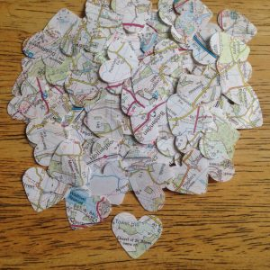 300 Hearts, 1 Inch Die Cut Hearts, Vintage Map Hearts