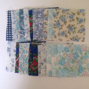 50 Vintage Fabric Squares 2.5 Inches, Blue Mix