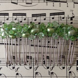 Bridal Hair Comb, Swarovski Crystals, Freshwater Pearls, Green Beads