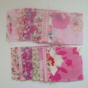50 Vintage Fabric Squares 2.5 Inches, Pink Mix