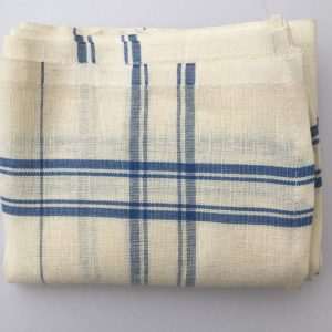 French Linen Tea Towels, Cream and Blue Stripe
