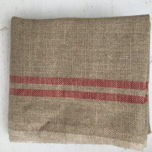 French Linen Tea Towels, Grey and Red Stripe 4