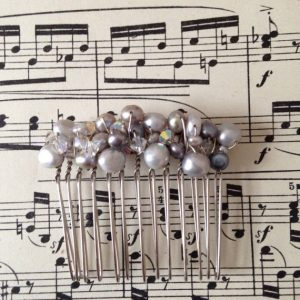 Handmade Bridal Hair Comb Swarovski Crystal and Freshwater Pearls Light Grey