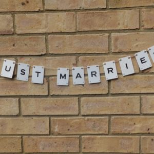 Just Married Vintage Playing Card Bunting