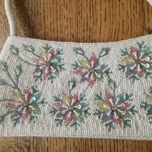 Vintage Bag, Beaded Evening Bag, Cream and Pastel Beads, Beaded Flower, Vintage Handbag, Vintage Bead Bag