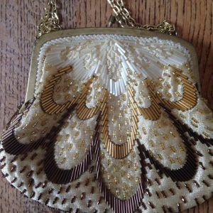 Vintage Beaded Bag, Cream and Gold Bag, Evening Bag with Chain, Made in Hong Kong,