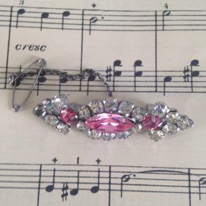 Vintage Brooch, Pink and Silver Diamanté,