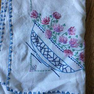 Vintage Embroidered Tablecloth, Square Linen Tablecloth, Measures 41 x 41 inches