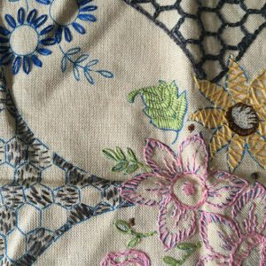 Vintage Embroidery Linen, Work In Progress, Linen Hand Embroidered, Emboidered Cushion Cover,