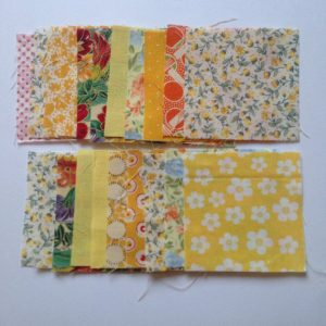25 2 1/2 inch Vintage Fabric Squares, Yellow Mix