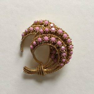 Vintage Sphinx Brooch, Pink Gemstones