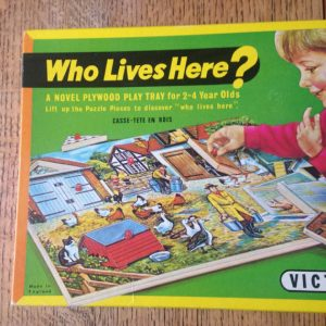 Vintage 'Who Lives Here' A Novel Plywood Play Tray