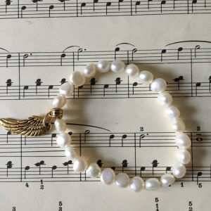 Handmade Freshwater Pearl Gold Angel Wing Ladies Bracelet